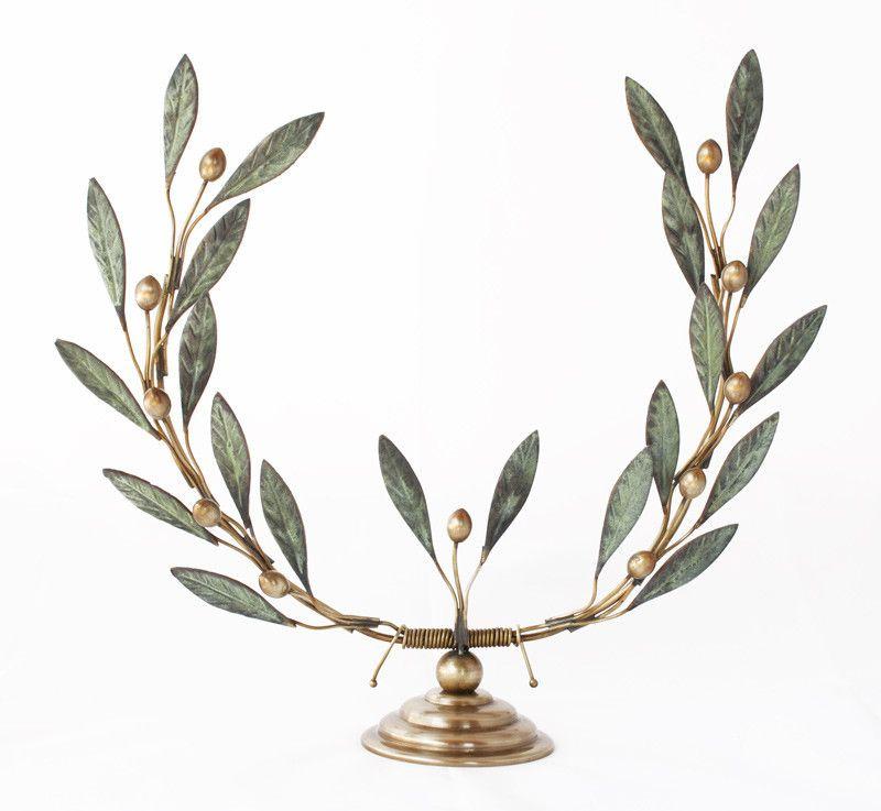 Bronze Olive Tree Branch Wreath Sculpture Verdigris Patina Finish