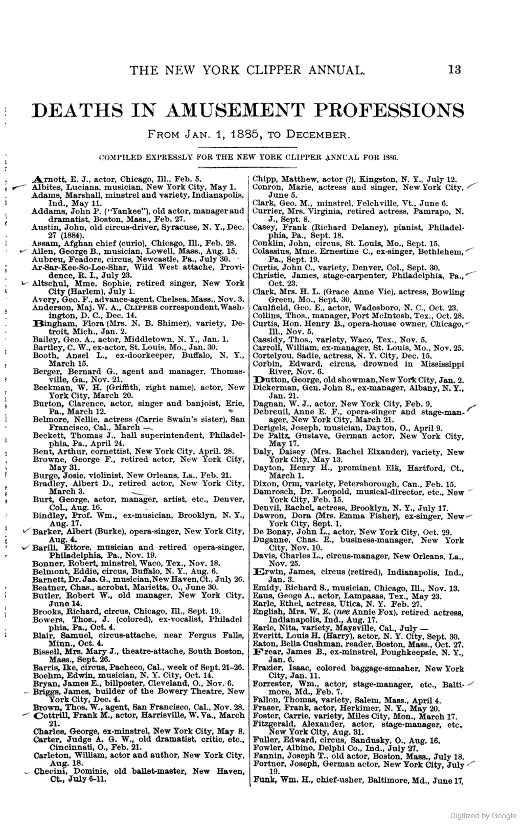 James Briggs, Builder of the Bowery Theater, died 1885.  The New York Clipper Annual ... Containing Theatrical, Musical and Sporting Chronologies ...