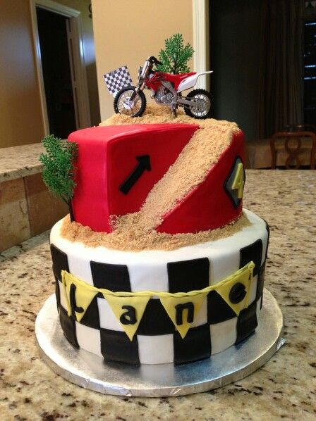 Dirt bike cake cakes Pinterest Dirt bike cakes Bike cakes and