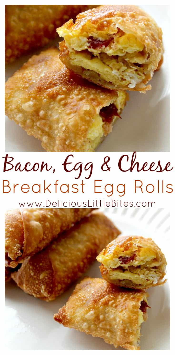 Why didn't I think of this sooner?!? Bacon, Egg, and Cheese stuffed in an egg roll wrapper and deep fried? YES please! What a fun breakfast recipe! Needless to say, everyone loves when I make these for breakfast! | www.DeliciousLittleBites.com #eggrolls