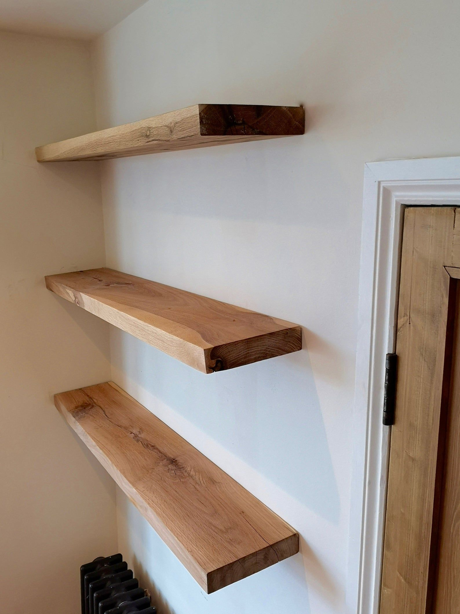 Oak Floating Shelves Solid Wood Bespoke Chunky Concealed Brackets Quality Storage Wood Oak Floating Shelves Wood Floating Shelves Floating Shelves Diy