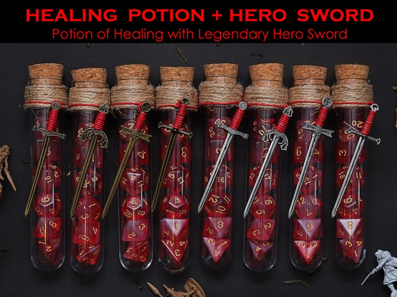 Potion of Healing & Legendary Hero Sword Polyhedral Dice