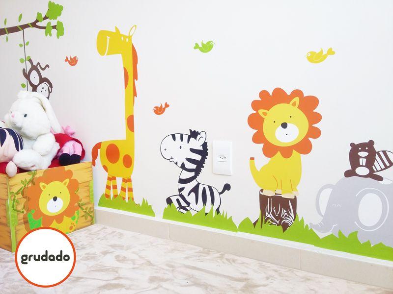 Adesivo Mesversario Natal ~ Adesivo de Parede Infantil Safari Grudado Adesivos de