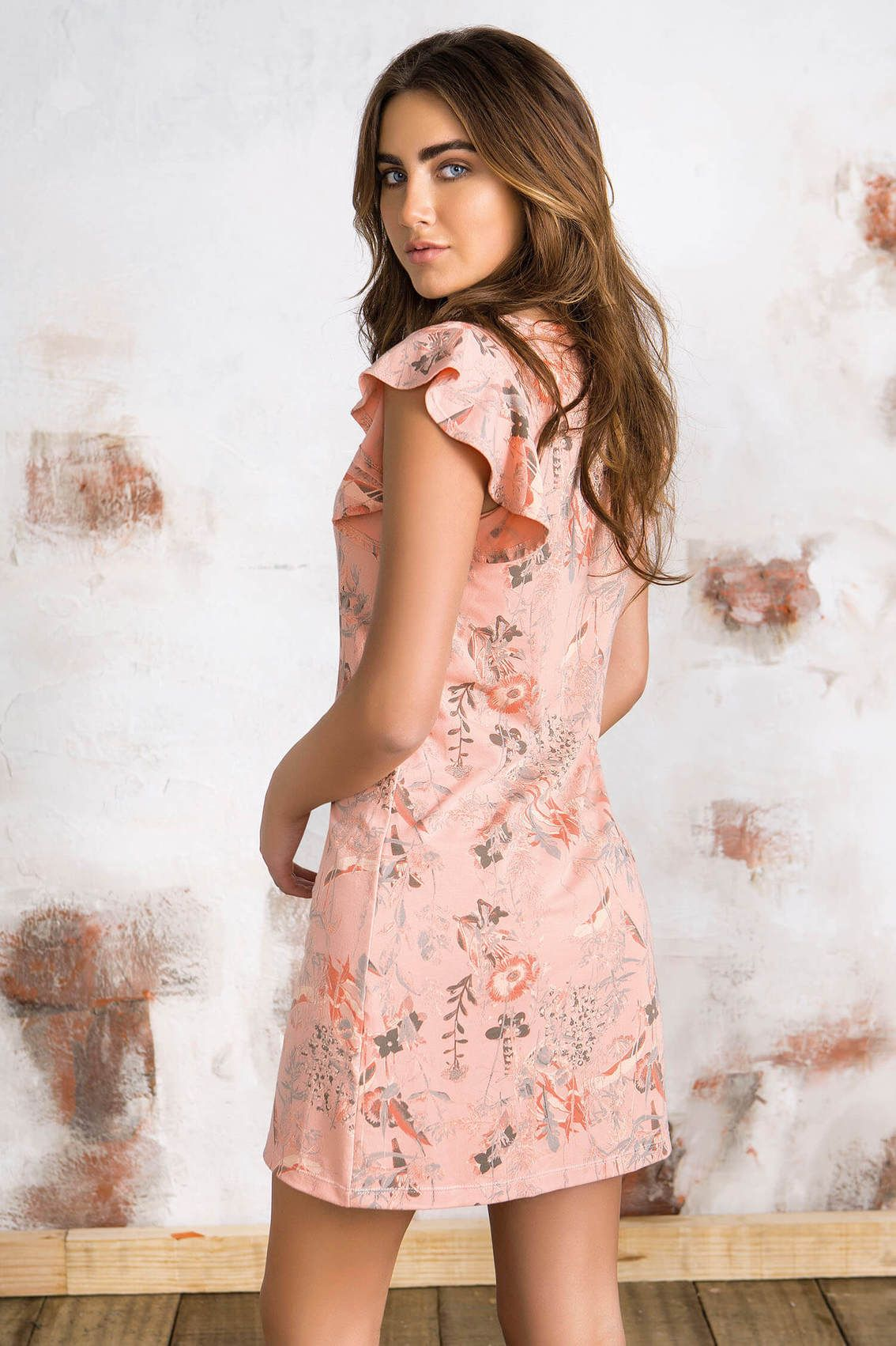 Vestido Corto Manga Corta Estampado Para Mujer P531089