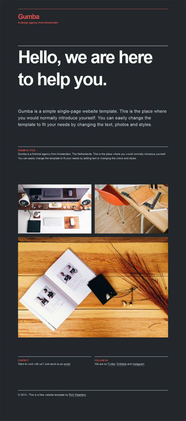 GUMBA : FREE HTML5/CSS3 ONE PAGE WEBSITE TEMPLATE | One page website ...
