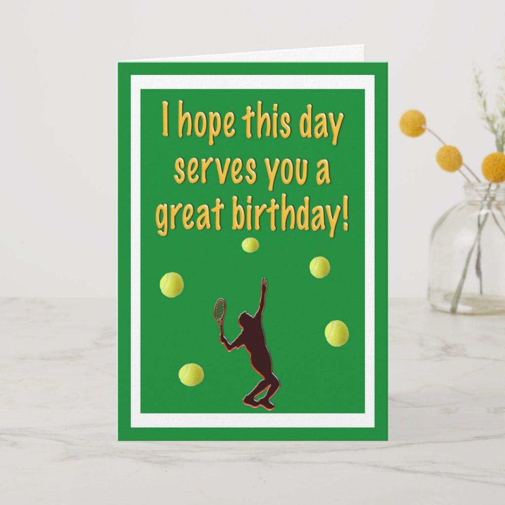 Tennis Player Happy Birthday Card Zazzle Com Birthday Cards Happy Birthday Cards Happy Birthday Greeting Card