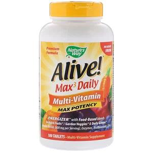 Nature S Way Alive Max Potency بالفاعلية القصوى متعدد الفيتامينات بدون حديد مضاف 180 قرص Iherb Multivitamin Vitamins Digestive Enzymes