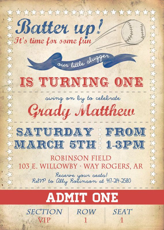 Vintage Baseball Birthday Invitation First By OhHappinessCards