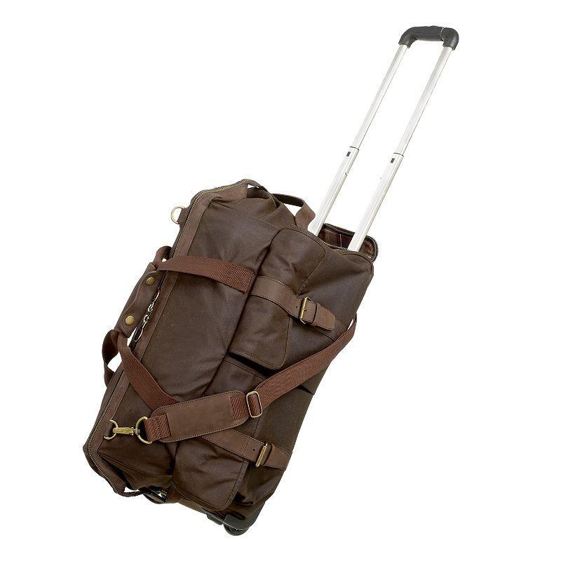 7bd31df9a2 Barbour Waxed Cotton Wheelie Holdall Bag. £259