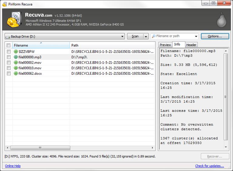 Screenshot of Recuva v1 52 1086 in Windows 7   My stuff   Data