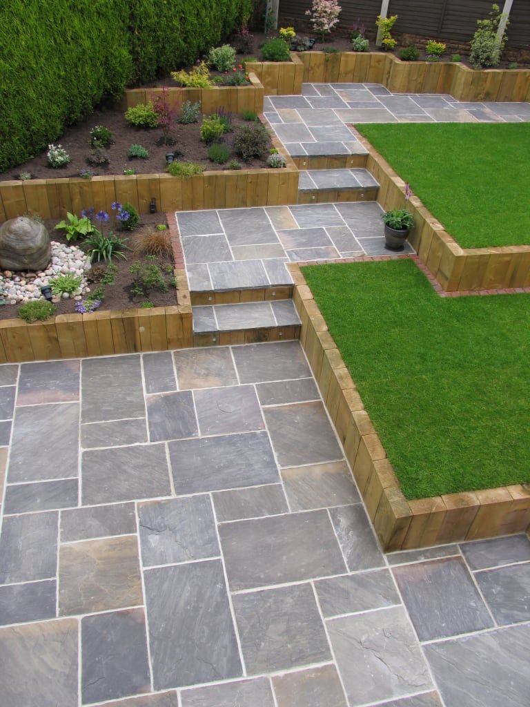Galaxy sandstone paving modern garden by barton fields landscaping supplies modern sandstone is part of Modern backyard landscaping, Sloped garden, Backyard landscaping designs, Small garden design, Patio garden, Modern garden design - Here you will find photos of interior design ideas  Get inspired!
