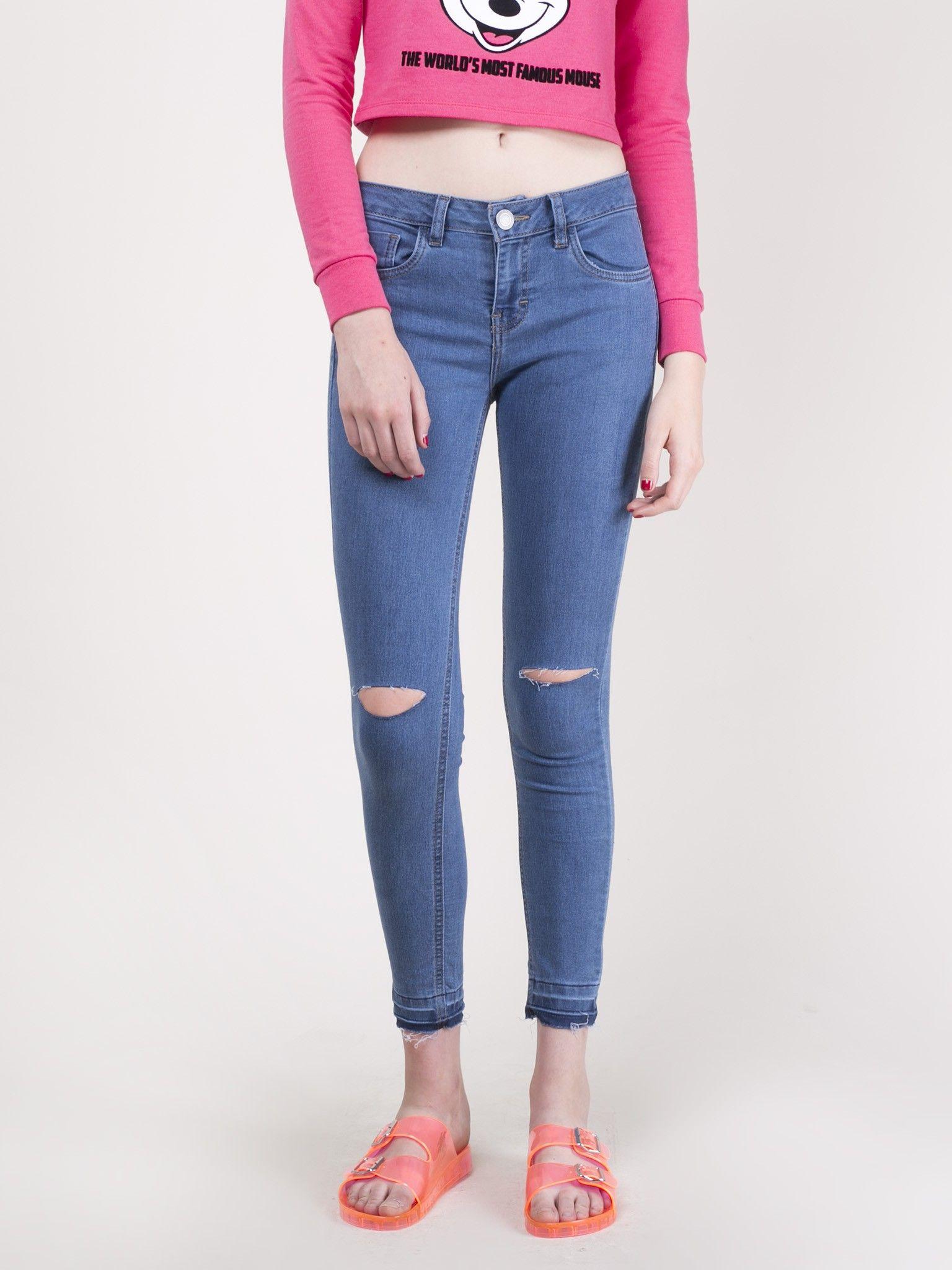 El Skinny Jeans Pantalones Cuidado Perro Con Destrucciones Tq81S1