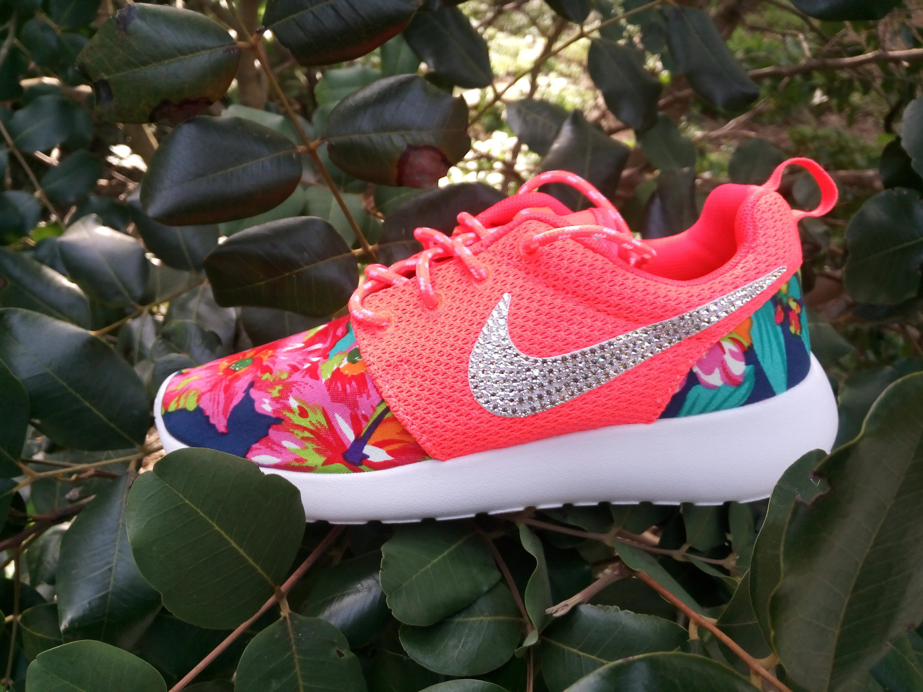 custom nike roshe run floral athletic shoes coral color customized with fabric  floral blinged with swarovski