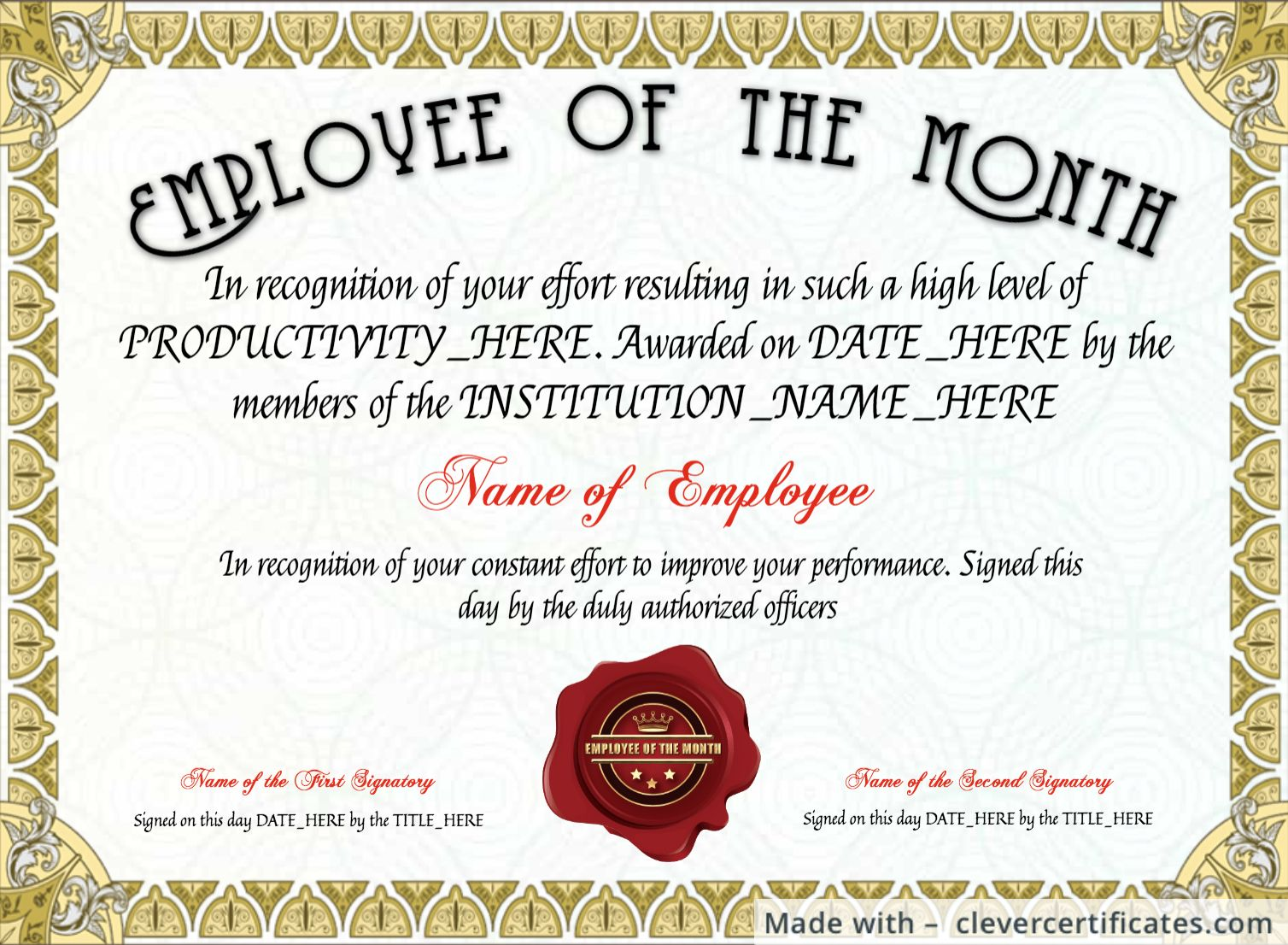 The Amazing Free Employee Of The Month Certificate Template At Regarding Employee Of The Mon Certificate Templates Employee Awards Employee Awards Certificates Printable employee of the month certificate