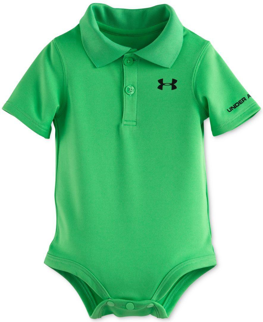 Under Armour Baby Boys Short Sleeve Green Polo Style Bodysuit I