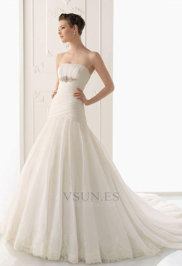 vestido+de+novia+sin+tirantes+blusa+plisada+hasta+el+suelo+cintura+