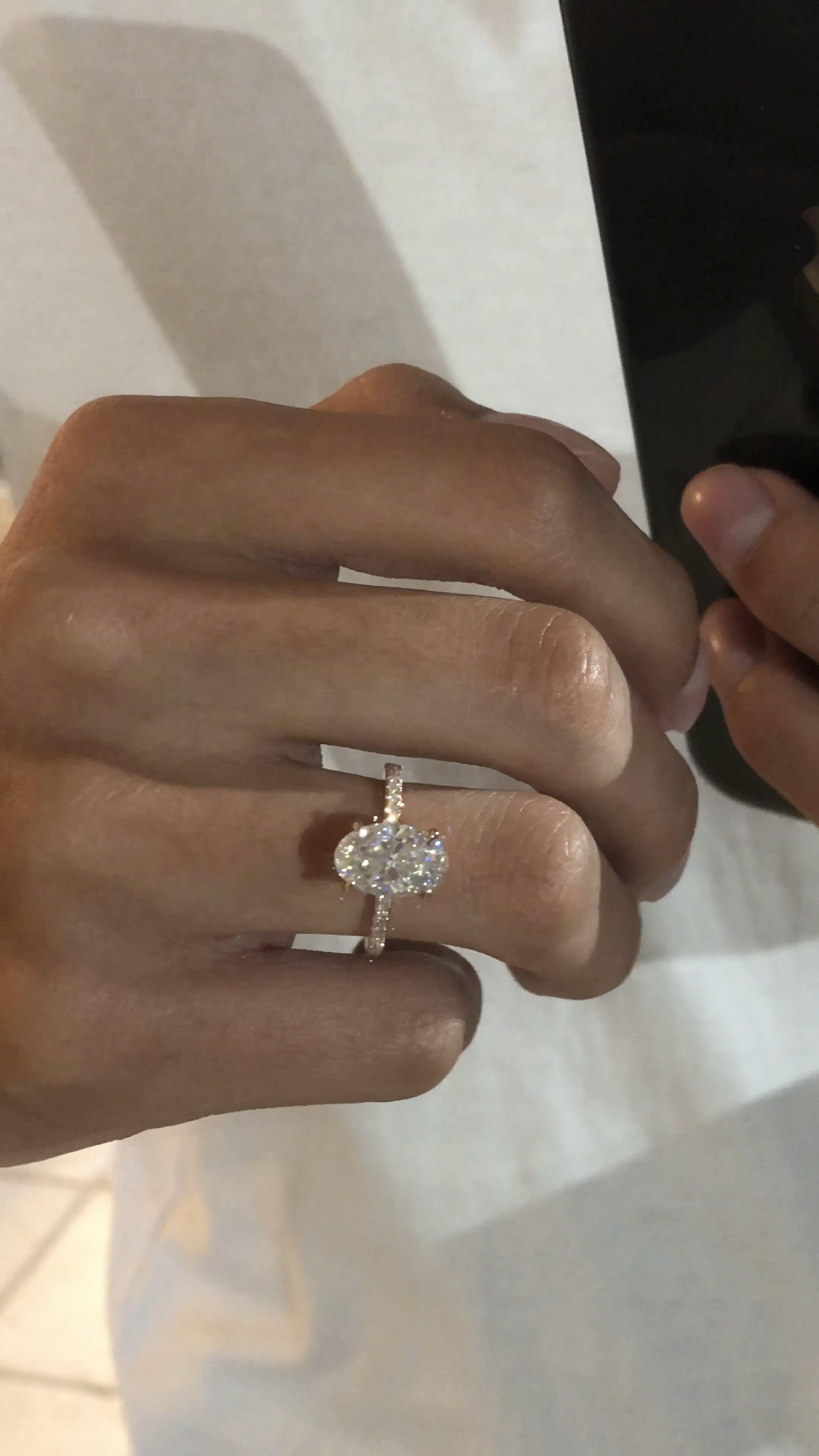 3 Carat Elongated Oval Diamond Hidden Halo Engagement Ring Rose Gold