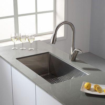 Kraus Standart Pro 30 L X 18 W Undermount Kitchen Sink With Basket Strainer Undermount Kitchen Sinks Kitchen Sink Remodel Single Bowl Kitchen Sink