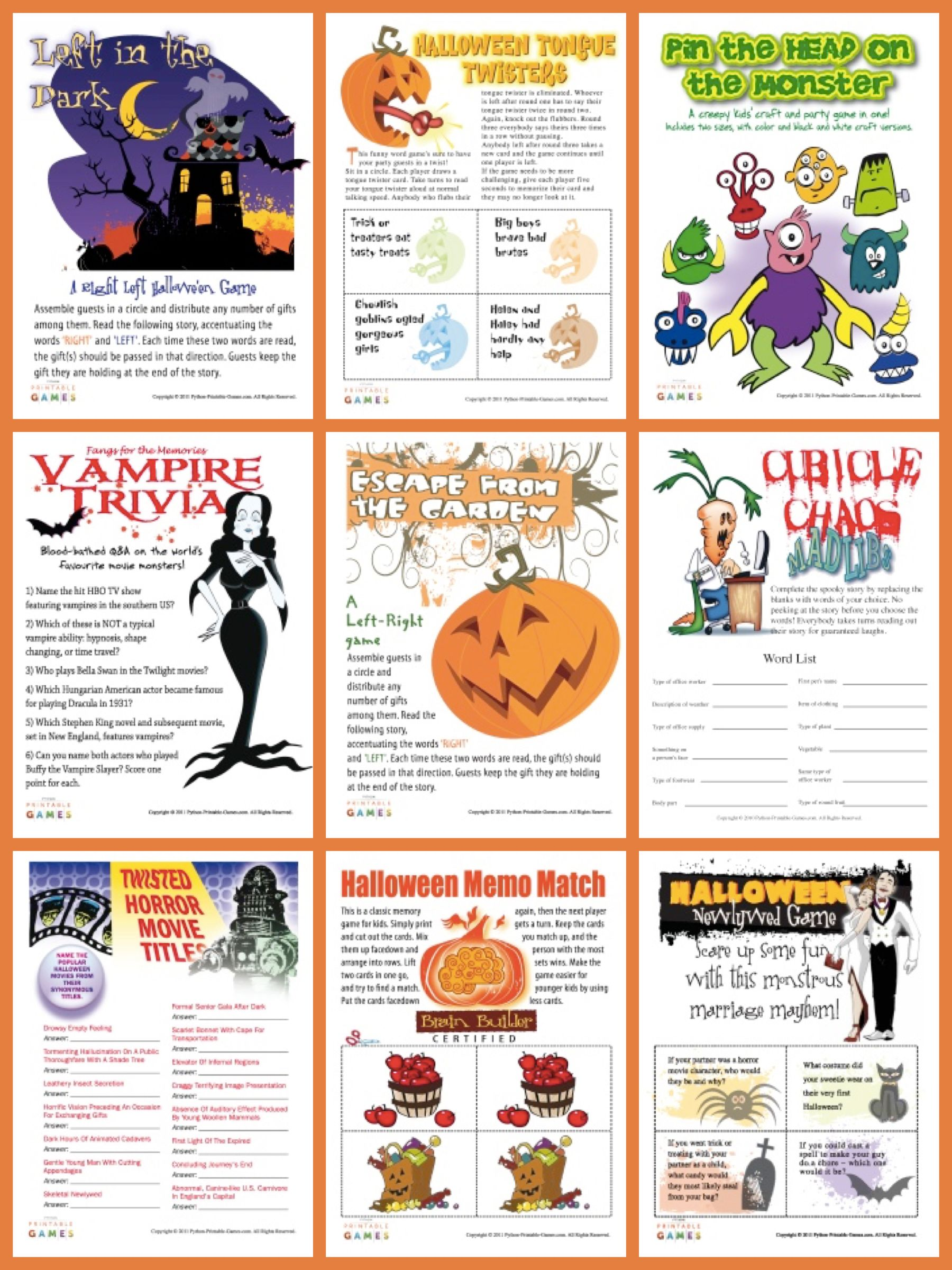 Halloween Printable Games | Party Games | PartyIdeaPros.com ...