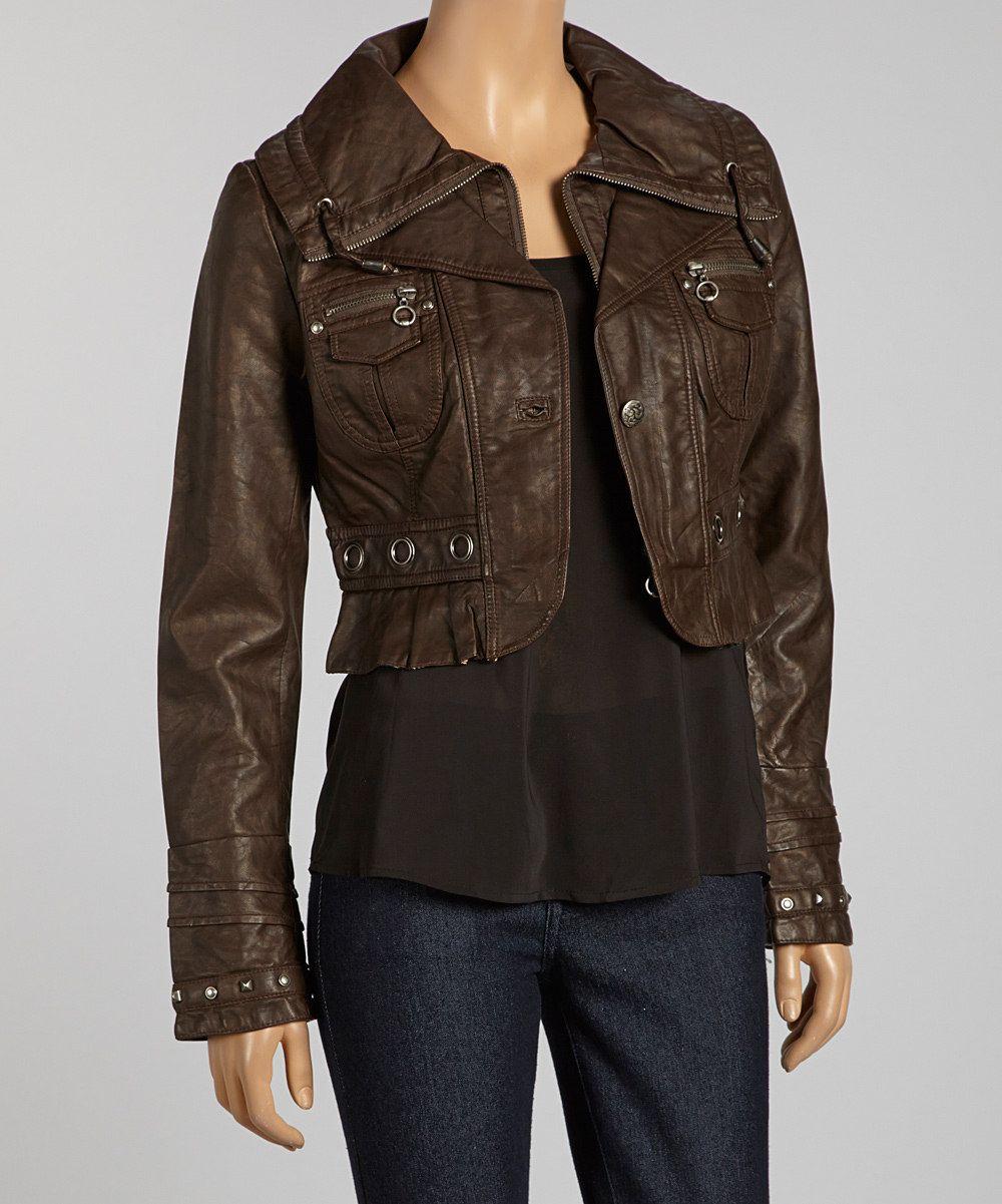 Coffee Brown Faux Leather Peplum Zip-Up Jacket