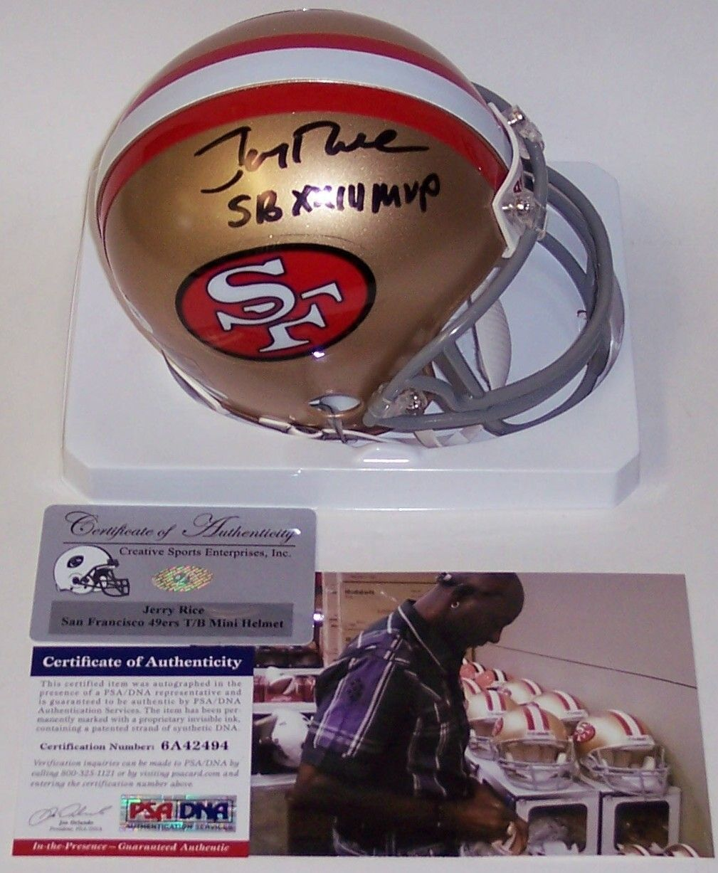 a848abc51 Jerry Rice Autographed Hand Signed 49ers Mini Helmet - PSA DNA. Dna