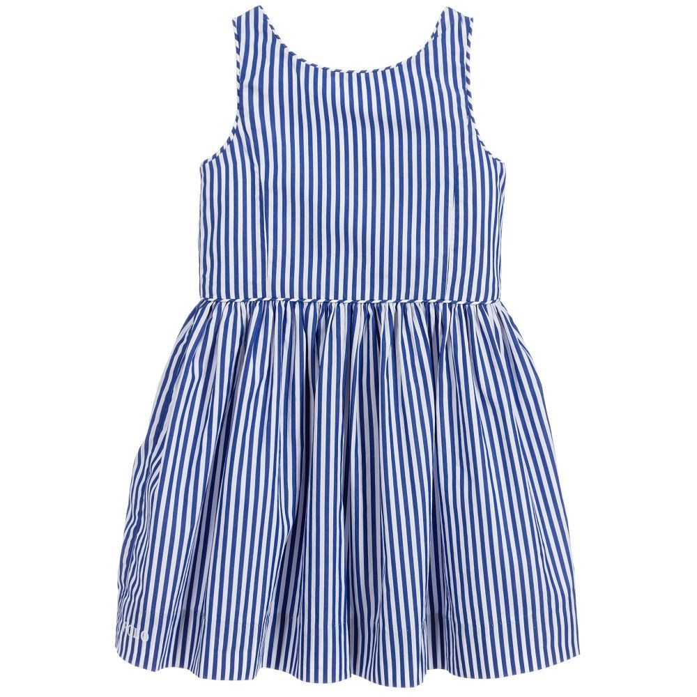 Girls Lovely Blue And White Striped Summer Dress By Polo Ralph Lauren Made And Lined In Soft And Lightw White Cotton Dress Cotton Dresses Striped Dress Summer [ 1000 x 1000 Pixel ]