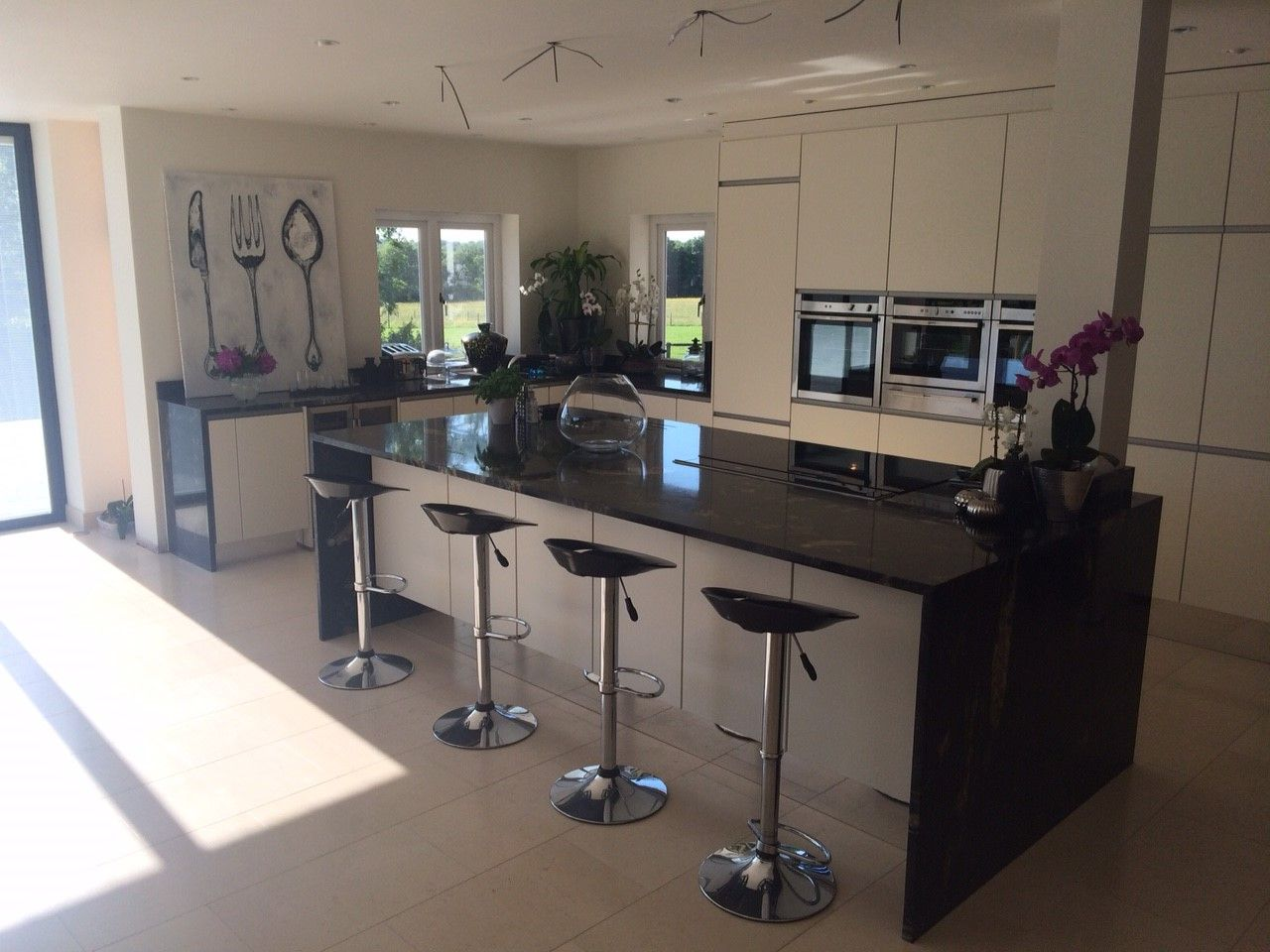 Cosmis Black Granite In A Polished Finish Kitchen Island With Downstands  And Worktops