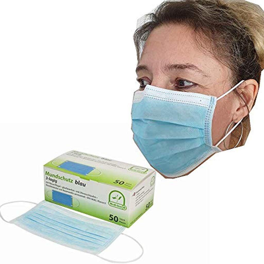 50 Medi Inn Mundschutz Schutzmasken Op Maske 3 Lagig Blau Bfe