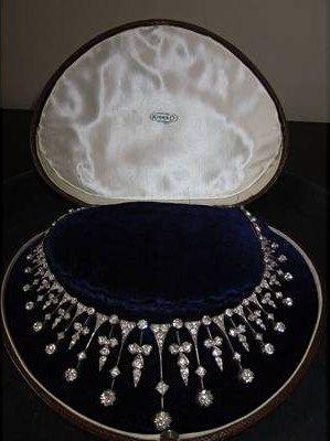 A diamond necklace-tiara, circa 1880.