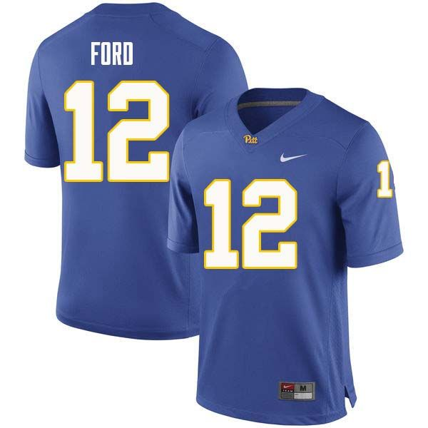 a38b240f0ed Men #12 Paris Ford Pittsburgh Panthers College Football Jerseys Sale-Royal