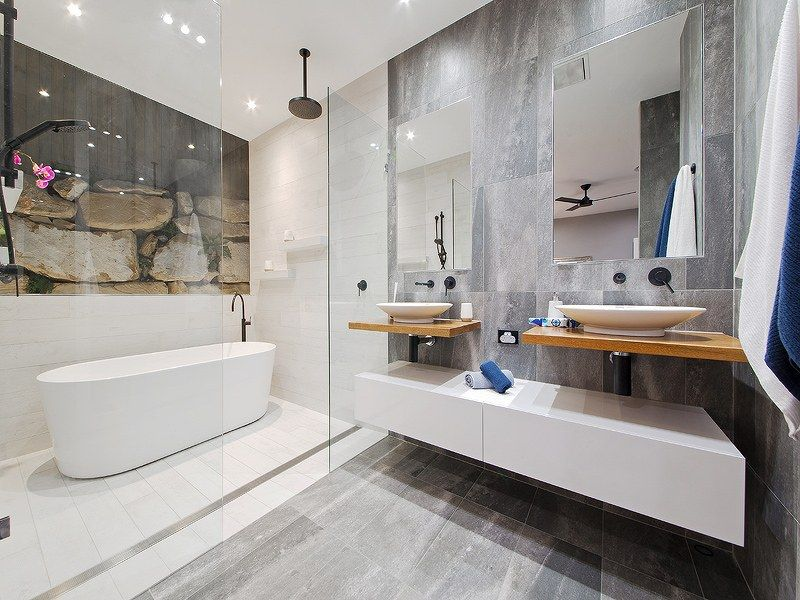 Beautiful bathroom design with white timber and matte for Bathroom ideas brisbane