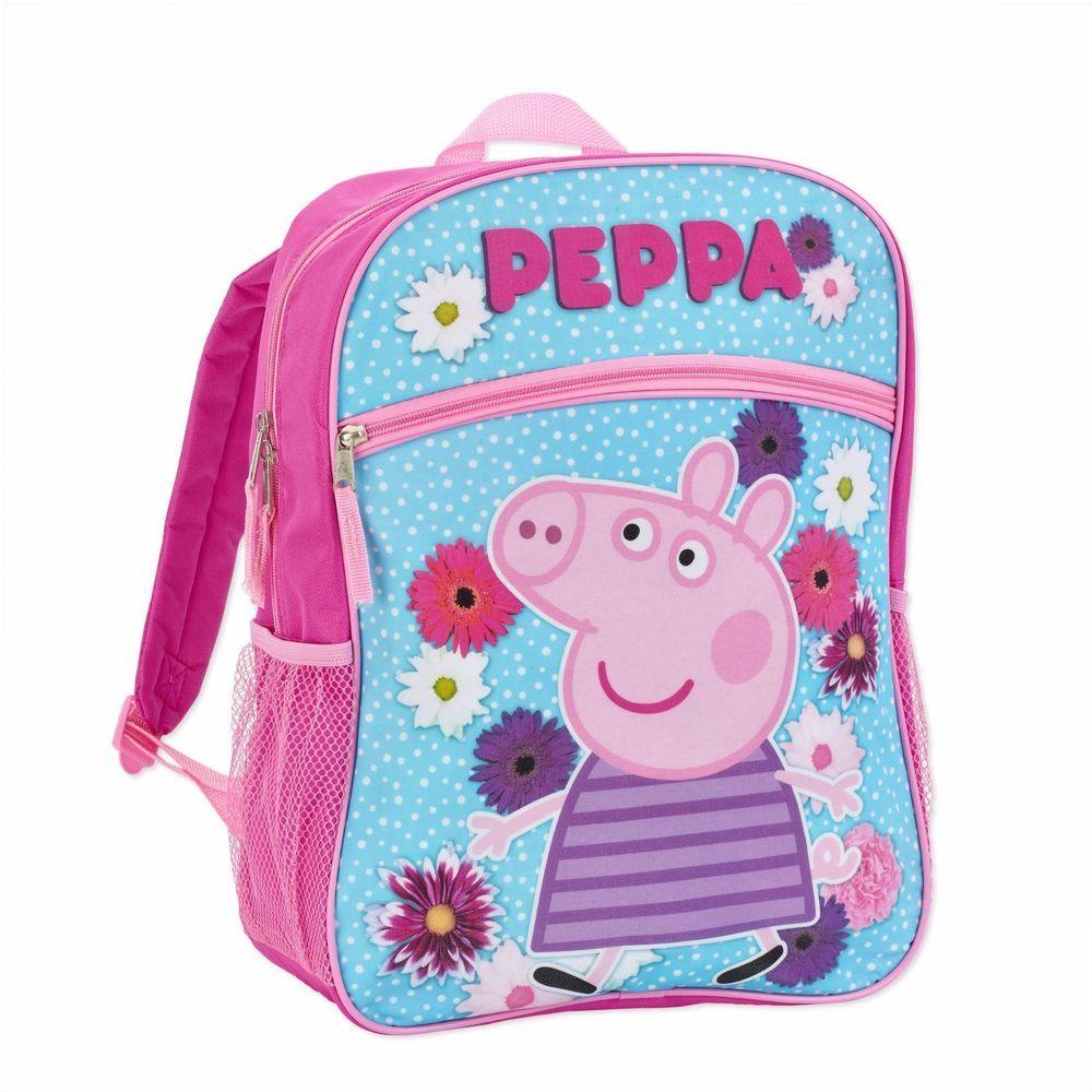 7bd3885c71db Peppa Pig Girl s 16 Inch Backpack Flower Power Pink School Bag NEW Free  ship  PeppaPig