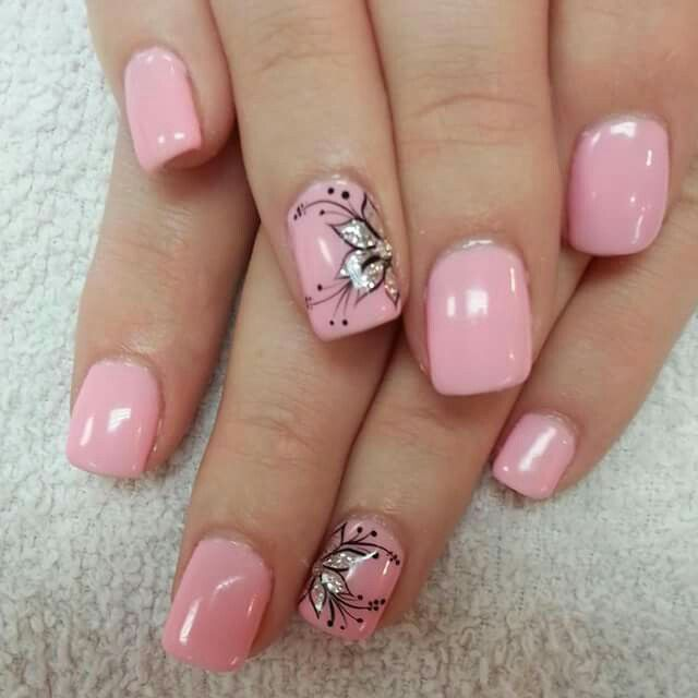 new flower nails art designs 2016 2017 - style you 7 - Pink Floral Nails Pinterest Floral, Pedicures And Business Nails