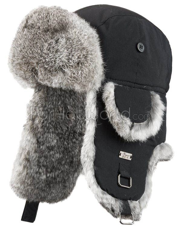 Black B-52 Aviator Hat with Grey Rabbit Fur   FurHatWorld.com e4c1ec652a6f