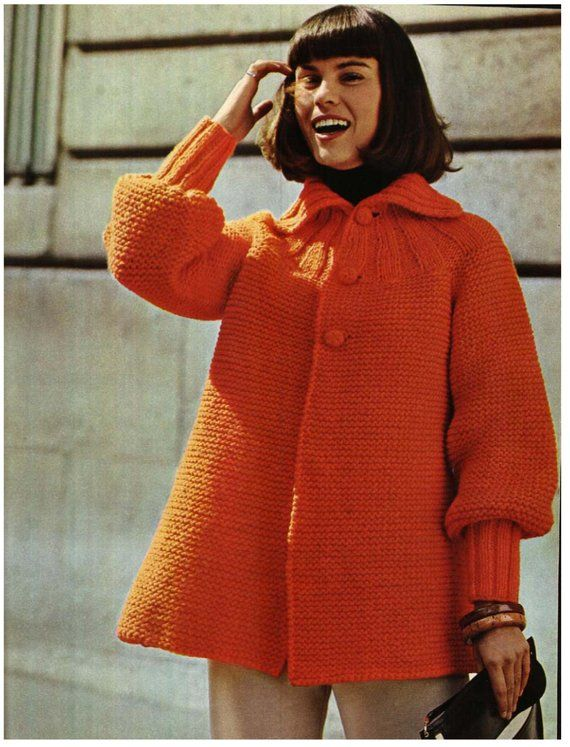 cf94b272e BULKY   CHUNKY yarn Knitting Pattern Cardigan or Jacket - Vintage Pattern  70s - Downloadable sizes 3
