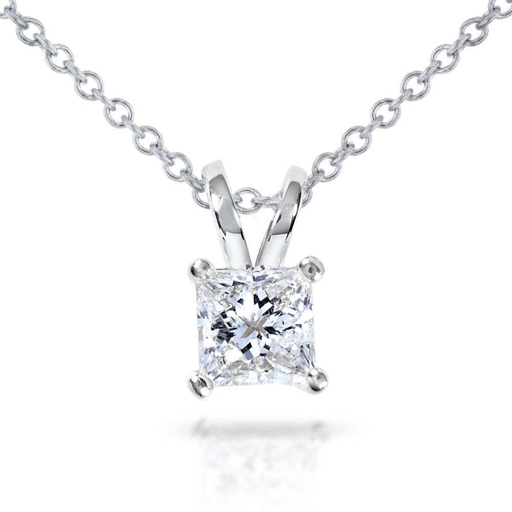 e867ba68ca442 Annello by Kobelli 14k Gold 1/2ct Princess Diamond Solitaire Pendant ...