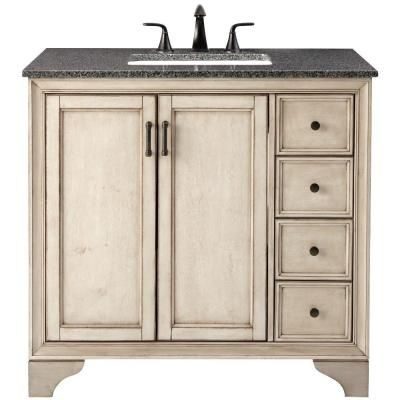 Home Decorators Collection Hazelton 31 In. Vanity In Antique Grey With  Granite Vanity Top In Dark Grey With White Basin