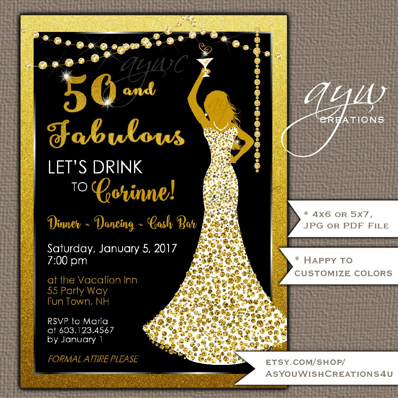 50th And Fab: 50th Birthday Party Invitation For A Woman