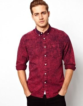 e6bc8ed163a5 Asos Denim Shirt In Long Sleeve With Acid Overdye - Red on shopstyle.co.uk