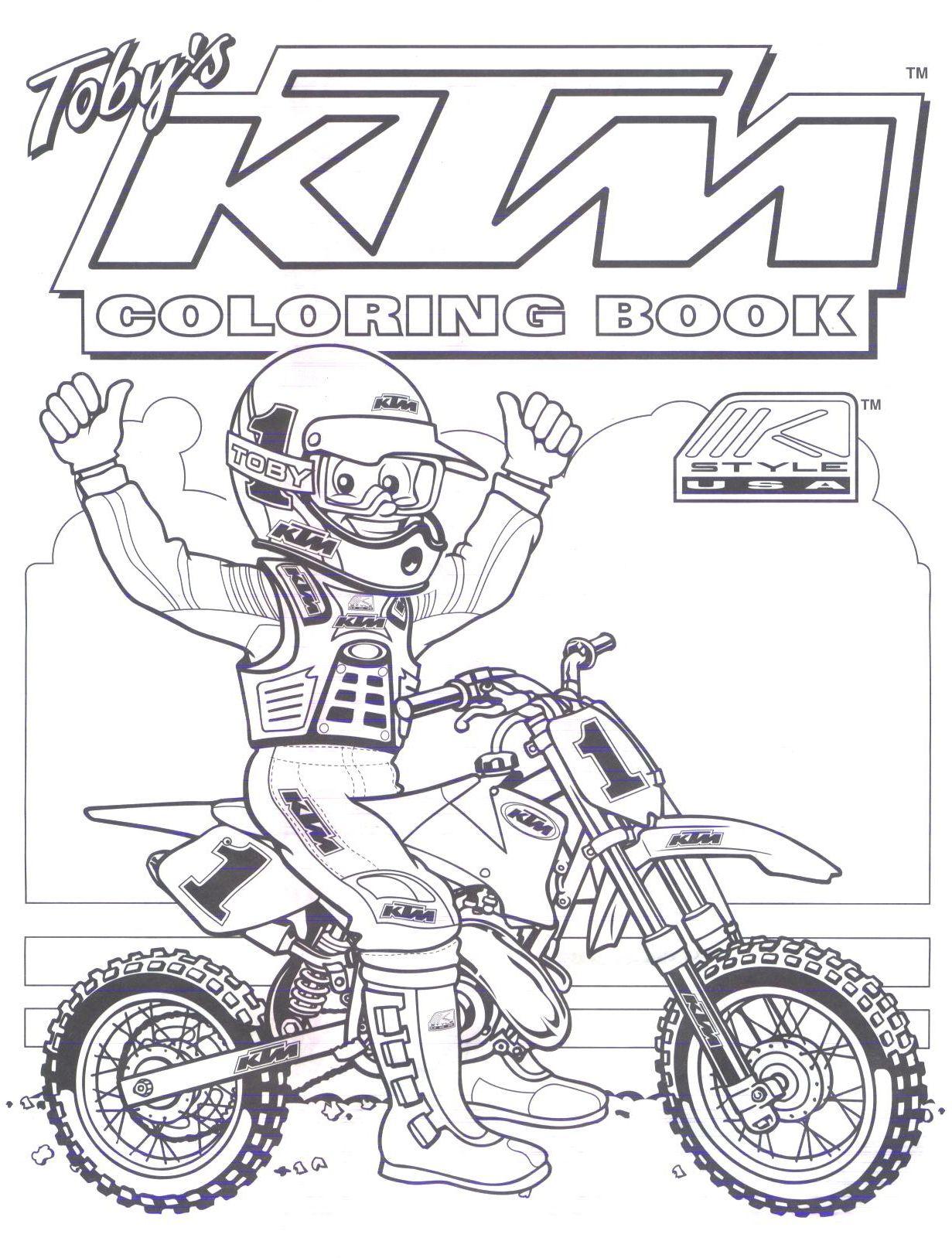 motocross ktm Colouring Pages  Dirt bike birthday, Bike birthday