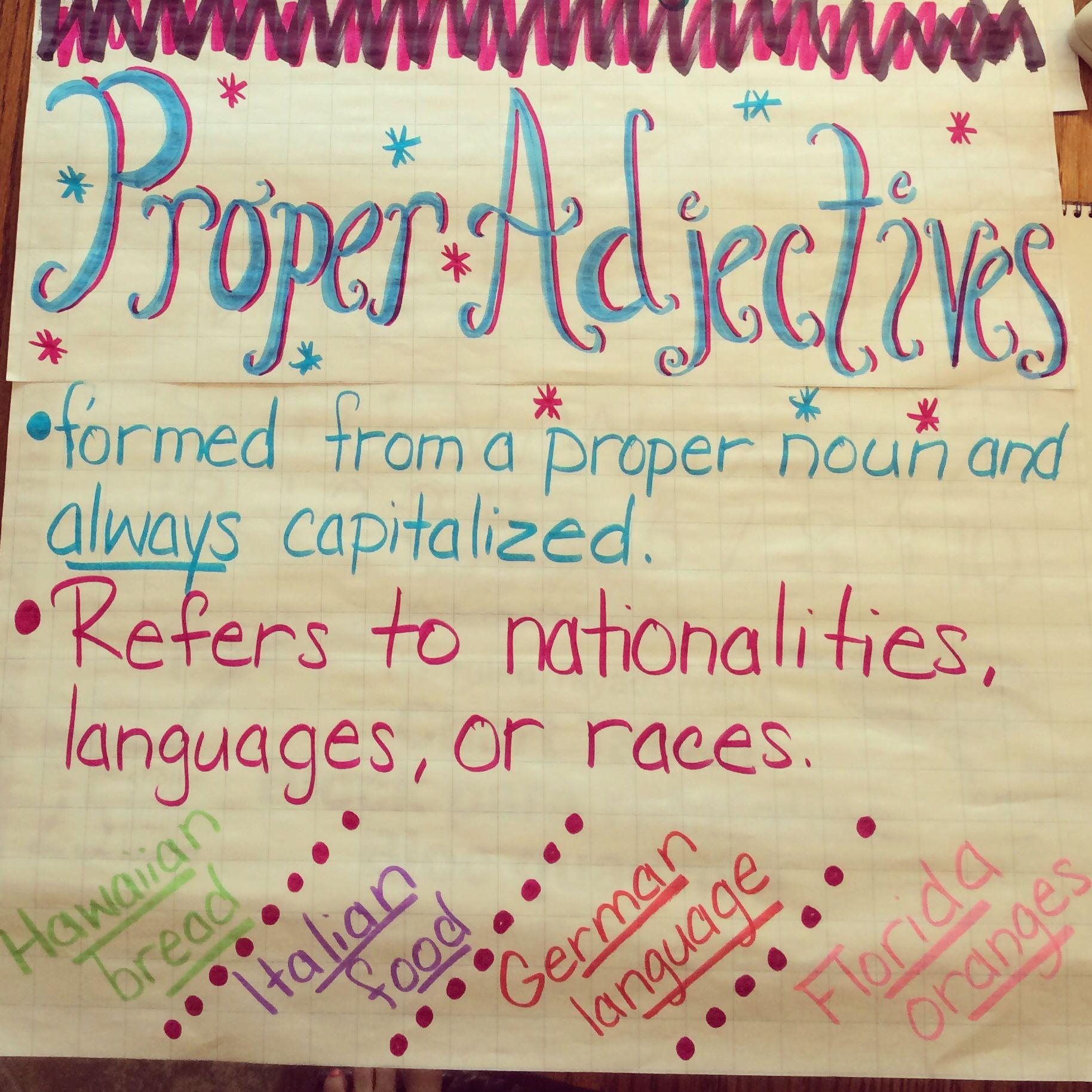 worksheet Proper Adjectives Worksheets proper adjectives 4th grade anchor charts pinterest grade