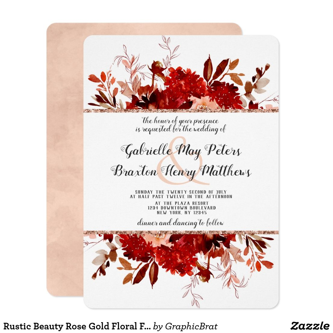 Rustic Beauty Rose Gold Floral Framed Wedding Invitation | { Wedding ...