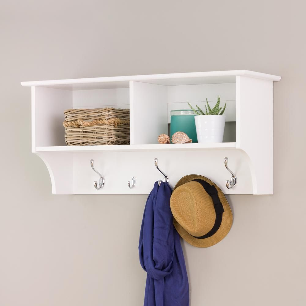 Prepac 36 In Wall Mounted Coat Rack In White Wec 3616 The Home Depot Hanging Entryway Shelf Entryway Shelf Wall Mounted Coat Rack