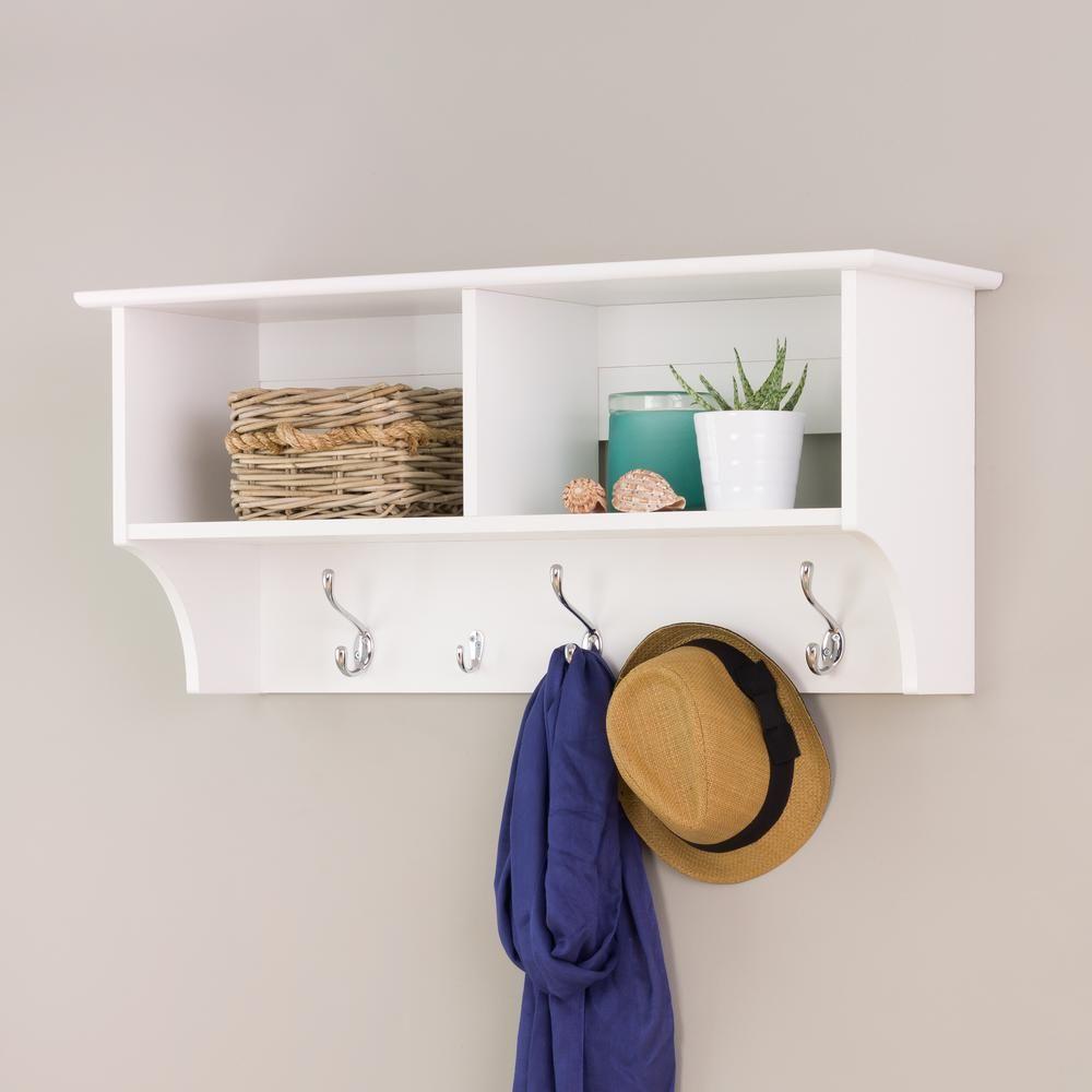 Prepac 36 In Wall Mounted Coat Rack In White Wec 3616 Hanging Entryway Shelf Entryway Wall Shelf Entryway Shelf