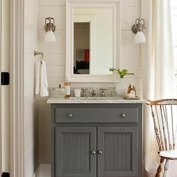 Gray Bathroom Vanity, Cottage, Bathroom, Southern Living