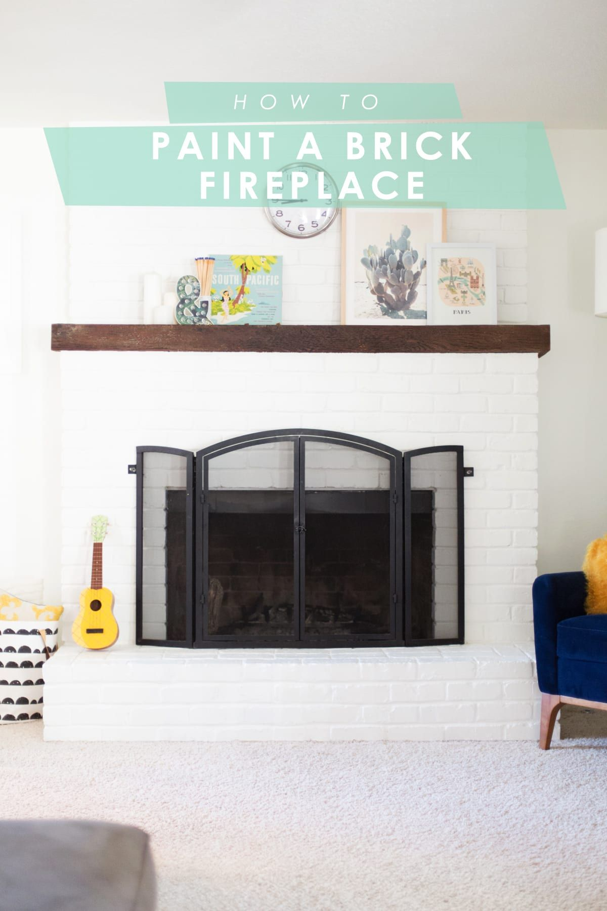 How to Paint a Brick Fireplace White #whitebrickfireplace