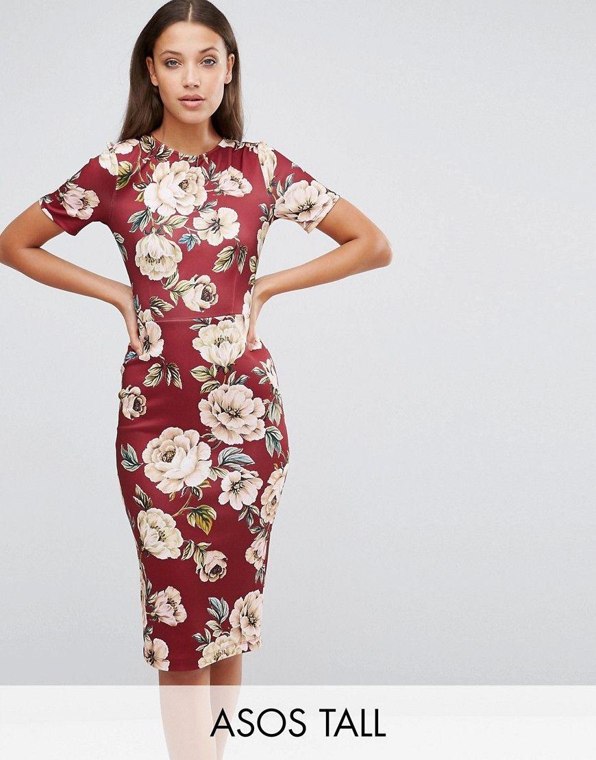 24f9102fb0 Vestido ajustado de neopreno estilo camiseta en guinda con estampado floral