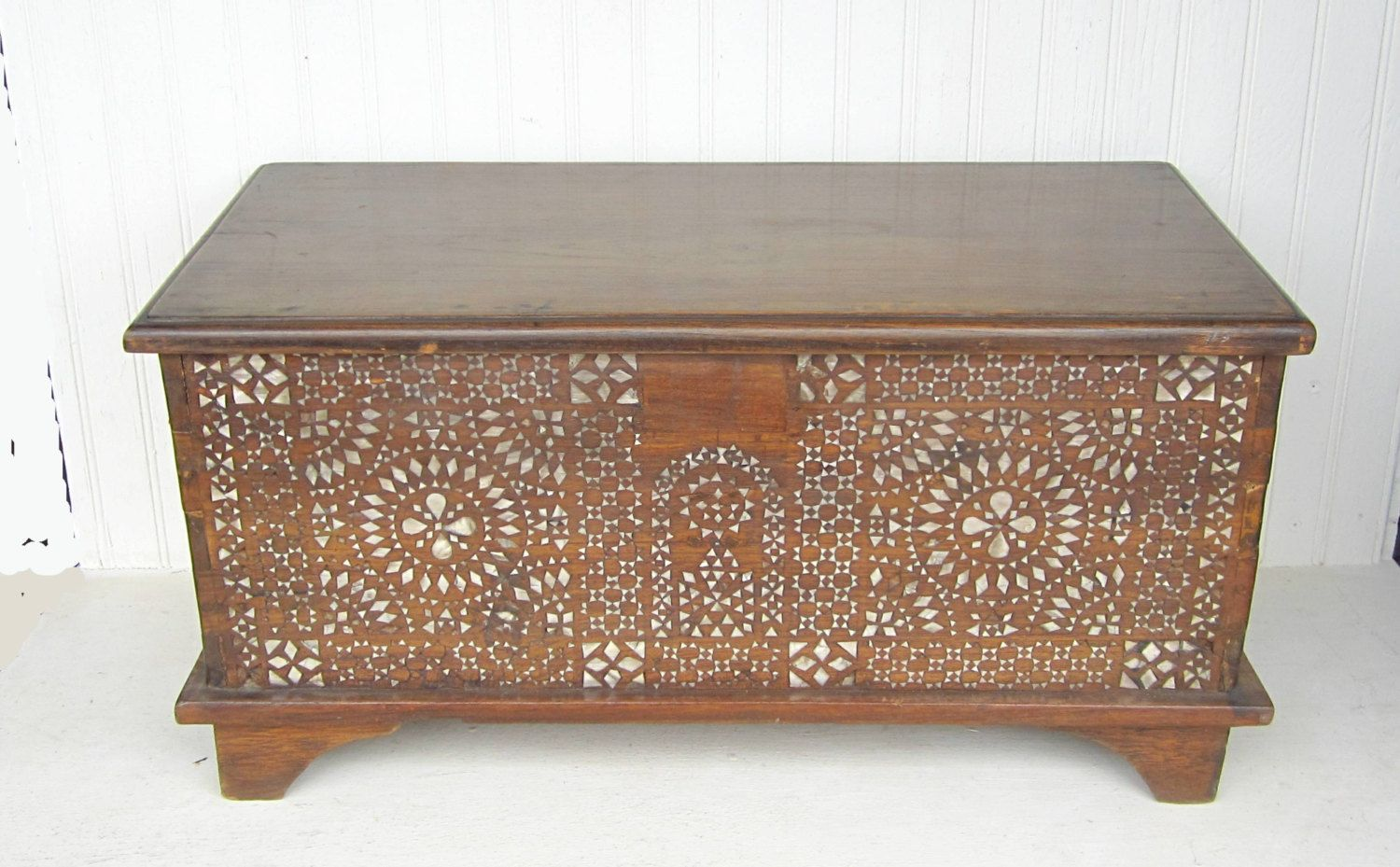 Amazing Vintage Wooden Hope Chest Storage Trunk With Mother Of Pearl Inlay.  $148.00, Via Etsy.