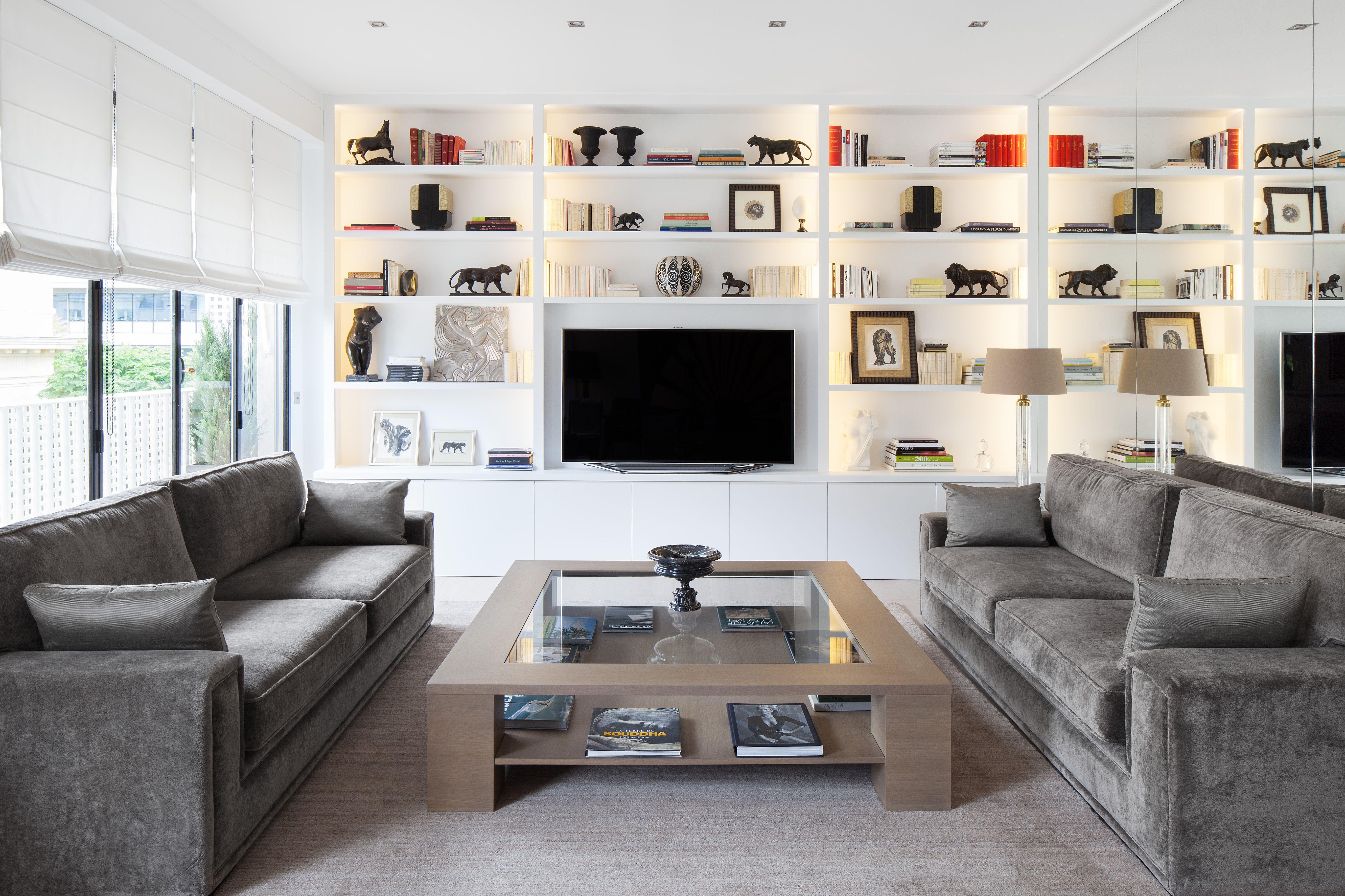 Appartement contemporain r alisation cda design salon s jour miroir biblioth que clairage - Salon contemporain design ...