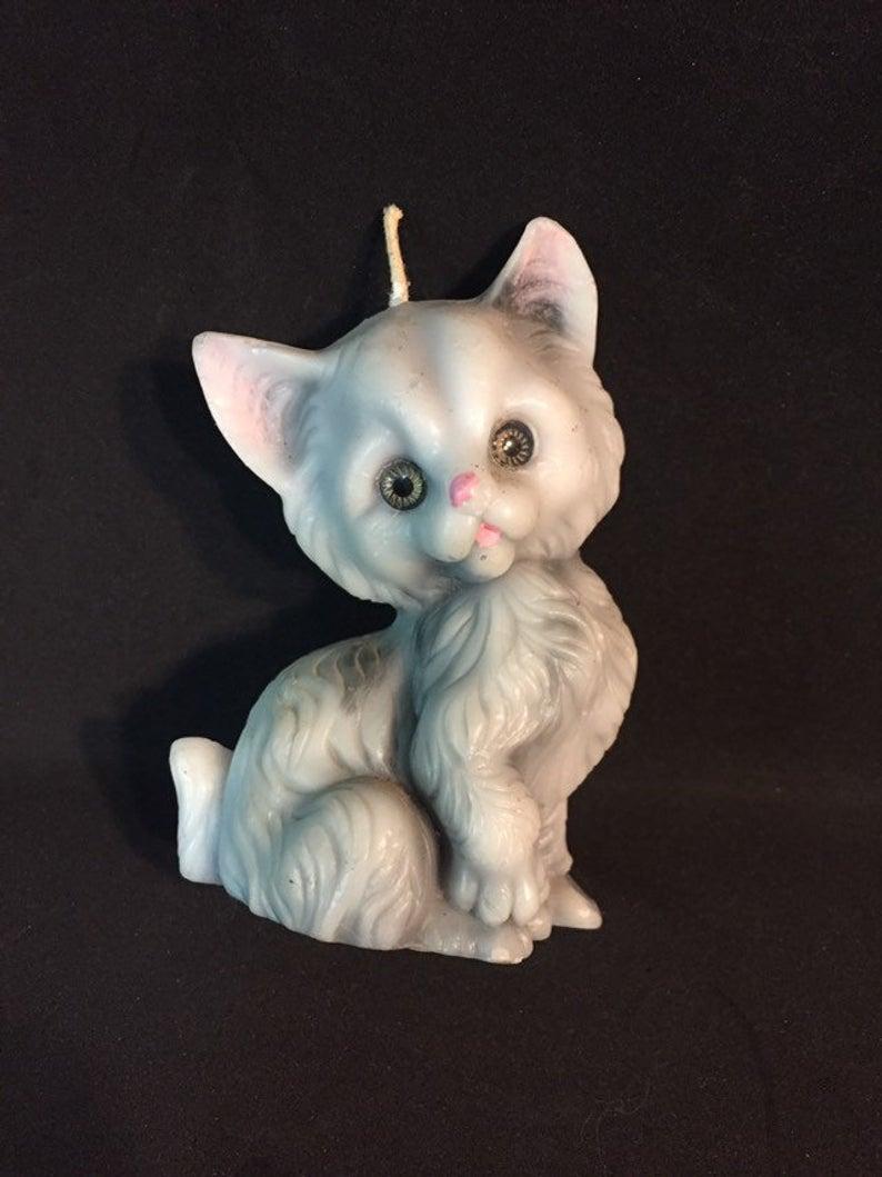 Grey Kitten Cat Candle Persian Longhair Cat Grey kitten